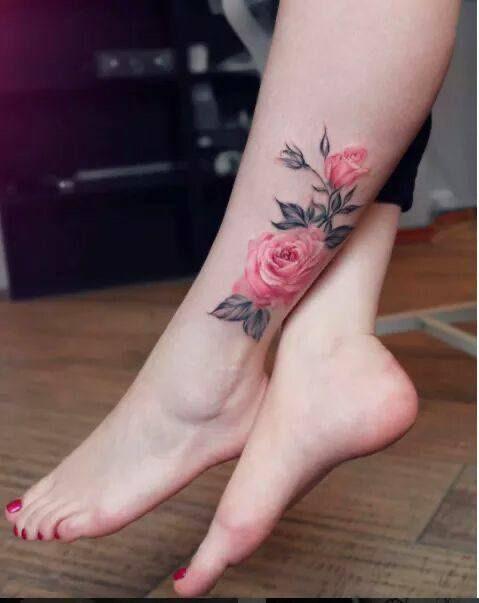 Hình Xăm Hoa Hồng ở Chân (2)